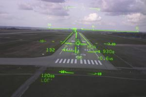 Head-Up display of a commercial airplane landing.
