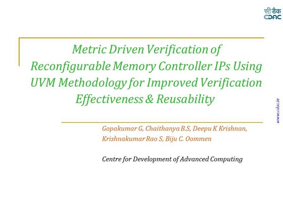 Metric Driven Verification Of Reconfigurable Memory Controller IPs Using UVM Methodology For Improved Effectiveness And Reusability